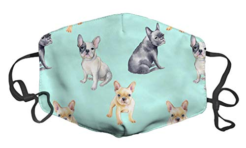 LuxSweet French Bulldog Pet Puppy Face Decorative Fashion Design Washable Reusable Unisex Soft and Comfortable for Men and Women