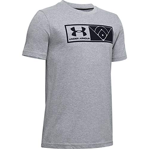 Under Armour Jungen Il Graphic Authenticator kurzärmelig, Steel Light Heather (035) / Schwarz, Youth-X-Small