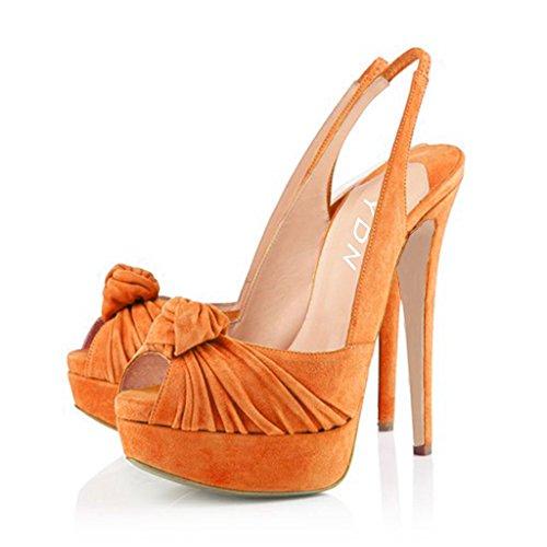 YDN Women Slingback Stilettos High Heel Pumps Sandals Platform Open Toe with Chic Bow Size 8 Orange