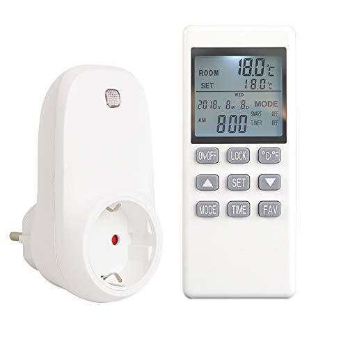 Byecold Thermostat Steckerthermostat Steckdosenthermostat mit LCD-Display Fernbedienung Temperaturregler Programmierbar Timer für Infrarotheizung Verschiedene Heizgeräte