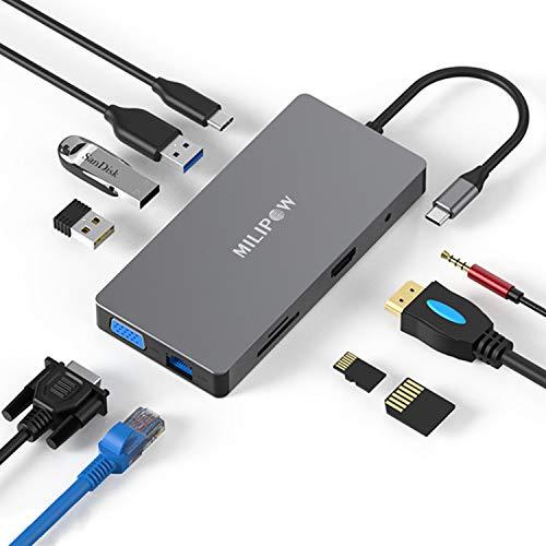 MiliPow - Hub USB C 10 in 1 di tipo C, Hub USB C 10 in 1, con 4 K HDMI, VGA, 60 W, Ethernet RJ45, 3 porte USB 3.0, lettore di schede TF/SD e presa audio per MacBook Pro/Air e altri