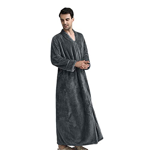 Herren Fleece Bademantel Winter Luxus Verdickte Doppelschicht Flanell Dusch Robe...