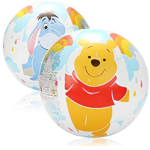 com-four® 2X Wasserball aufblasbar - Strandball wasserabweisend - Beachball mit Motiven von den Disney-Figuren Winnie Puuh, Tigger und I-Aah - Ø 50 cm