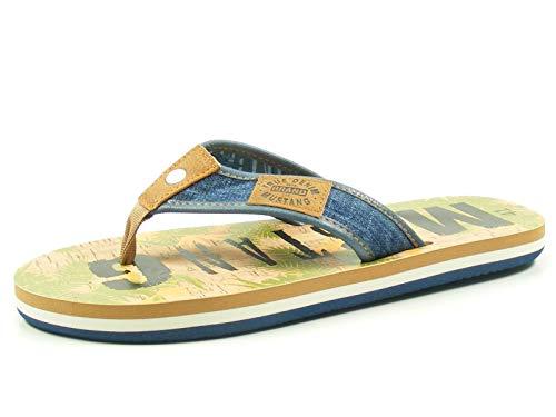 MUSTANG Shoes Zehentrenner in Übergrößen Blau 4113-703-841 große Herrenschuhe, Größe:49