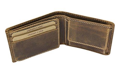 LEAS Cartera hombre pequeña para señores Monedero señoras Vintage Style Used Look, Piel auténtica - Vintage-Collection (dimensiones 10,5x8,5cm) (coñac oscuro)