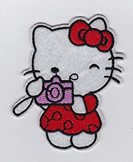 SANRIO RED HELLO KITTY with Camera Taking Picture- Iron on Patches/Sew On/Applique/Embroidered
