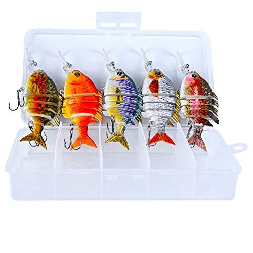 Señuelos De Pesca Artificiales 3D Minnow, Señuelos De Pesca con Señuelos Duros para Nadar, Señuelos De Agua Dulce De Agua Salada para Leucomas De Trucha Lubina,E