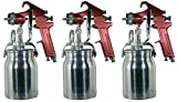 Astro Pneumatic Tool 4008 Spray Gun with Cup - Red Handle 1.8mm Nozzle (Тhree Pаck)