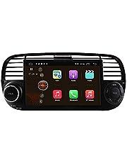 Autoradio Android 10 Stereo con touch screen da 7 pollici per Fiat 500 2007-2014, 1 Din Navigazione GPS Supporta USB TF Card Bluetooth WiFi RDS Controllo del volante DSP (Nero)