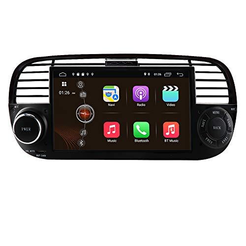 Android 10 Autoradio Stereo mit 7 Zoll Touchscreen für FIAT 500 2007-2014, 1 Din GPS Navigation Unterstützt Carplay USB TF Karte Bluetooth WiFi RDS Lenkradsteuerung DSP (Schwarz)