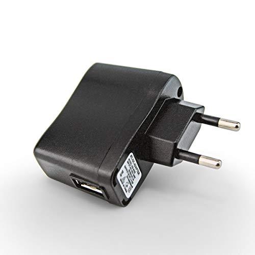 Adaptador PRUNUS AC/DC USB 5V1A con indicador luminoso, perfecto para radios y altavoces, con batería recargable de litio (5V/1A, negro)