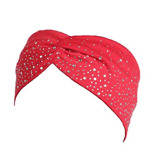 Bigood Élastique Coton Bandeau de Cheveux Femme Strass Bande de Tête Vogue Rouge
