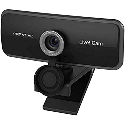 Creative Live! Cam Sync 1080p webcam USB full HD, gran angular, micro integrado, cubre-objetivo para proteger privacidad, montaje para trípode, videollamada high-res, grabación y streaming para PC/Mac