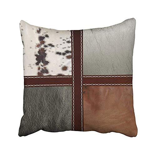Fundas de almohada de estilo occidental de cuero y piel de vacuno con estampado de fundas para sofá, hogar, fundas de almohada decorativas para regalo, 45 x 45 cm