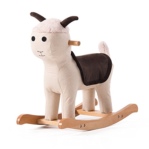 D&L Animal Rocking Horse Child Stool, Cartoon Creative Footstool Solid Wood 4 Legs Bronzing Cloth Cover Rocking Chair-D