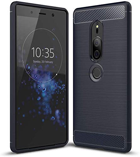 König Design Handy-Hülle kompatibel mit Sony Xperia XZ2 Premium Silikon Hülle Hülle Sturzsichere Back-Cover Handyhülle - Carbon - Blau