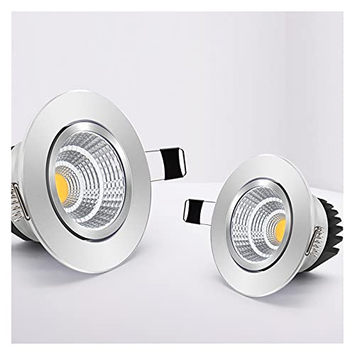 HSHHJSH Foco Empotrable De Techo LED, Downlights COB LED Regulables De Ángulo Ajustable AC110V Foco Redondo De 220V 6W 9W 12W 18W Foco Empotrable De Techo (Emitting Color : Cold White, Wattage : 12W)