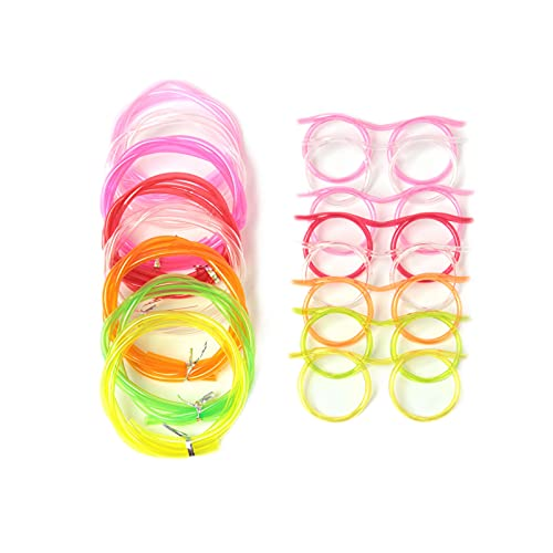 proturbo 8 Pieces Silly Straw Glasses,Reusable Party Drinking Straw Glasses,Party Supplies,Crazy Funky Drinking Tube For Party Supplies,Suitable for All Kinds of Parties,Multicolo