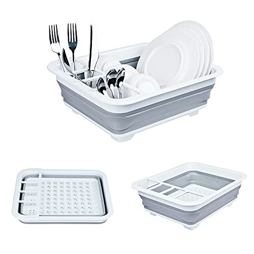 TOLEAD Collapsible Dish Drying Rack, Folding Dishes Rack with Drainer for 8 Large Plates, Kitchen Accessories Storage Organizer, Good Addition to RV, Travel Trailers, Camper, Compact and Portable
