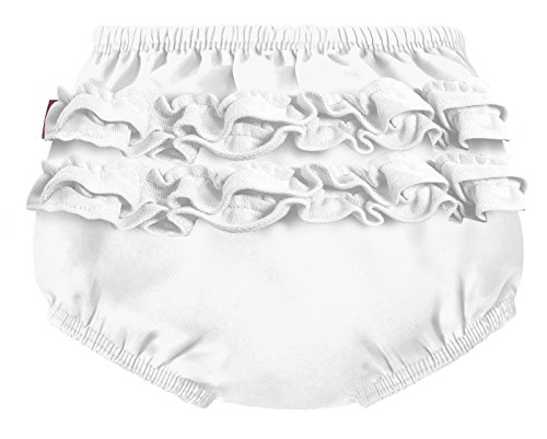 City Threads Baby Girls' Ruffle Swim Diaper Cover Reusable Leakproof for Swimming Pool Lessons Beach, White, 12/18m