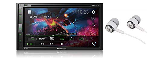 "Pioneer 6.8"" Double DIN Touchscreen Display, Apple iPhone and Android Music Support, Bluetooth in-Dash DVD/CD AM/FM Front USB Digital Multimedia Car Stereo Receiver/Free Alphasonik Earbuds"