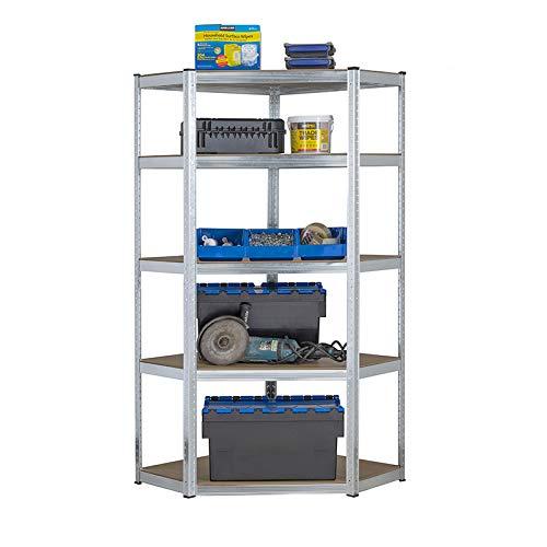 Estantería de acero galvanizado para garaje de 175 kg por estante (5 niveles 1800 mm de alto x 900 mm/698 mm de ancho x 400 mm de profundidad) + entrega gratuita al día siguiente