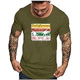 Short Sleeve Camiseta Blusa de Ocio con Cuello Redondo, Manga Corta y Top Estampado con Cuello...