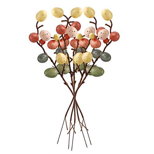 RTWAY 5 ramas de árbol de huevo de Pascua, ramo de huevos falsos de 30 cm, púas de flores, decoración de Pascua, accesorios para fiestas, hogar, decoración de Pascua