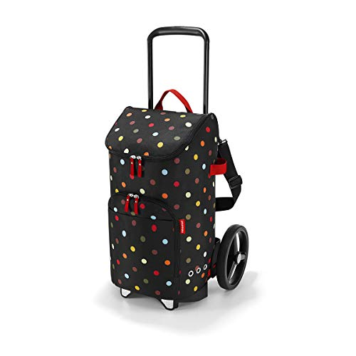 reisenthel citycruiser Rack + citycruiser Bag Set, moderner, robuster Einkaufstrolley aus Aluminium, leichtlaufende Rollen - große Einkaufstasche, 34x60x24 cm, 45 l, dots (7009)