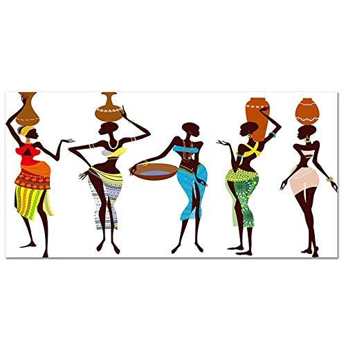 YINGFUN Estilo Africano Lienzo Pintura Decorativa Pintura Moderna Pared Arte Cartel decoración casera decoración Pared Vintage póster Lienzo impresión (Color : Y010649, Size : 40x20cm no Frame)