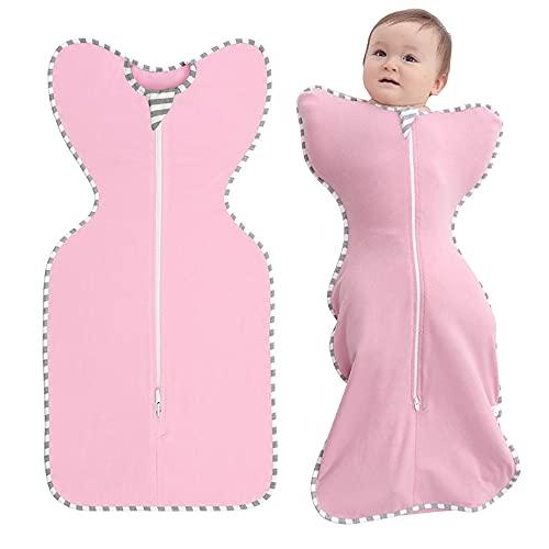 ZIGJOY Saco de Dormir Bebé Mantas Envolventes para Dormir Esencial para Recién Nacidos Bolsa de Dormir para Bebé 100% Algodón 6-9 Meses Rosado