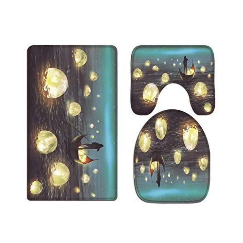 A.Monamour Bath Mat Set of 3 Watercolor Glowing Moons Floating on Sea Man Rowing A Boat at Night Flannel Washable Toilet Pedestal Mat Toilet Seat Lid Covers Cushions Pads Non Slip Bathtub Rug