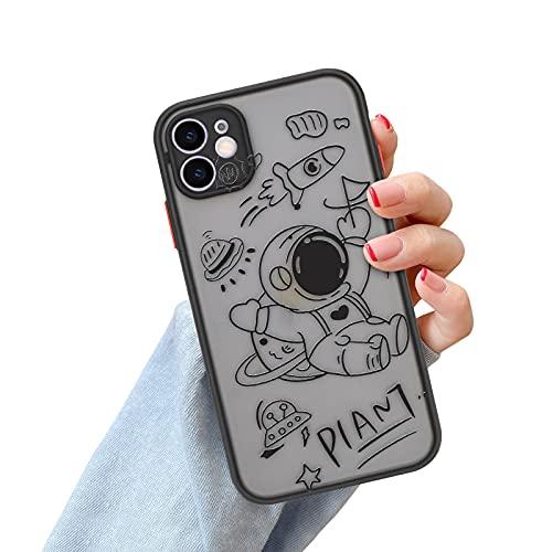 Newseego Funda para iPhone 11, Patrón de Elemento Cósmico de Dibujos Animados Lindo Caja Esmerilada para iPhone 11, Caso TPU+ PC Translúcido Trasera Carcasa para iPhone 11 Cover Case-Astronauta Negro