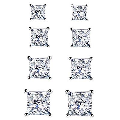 925 Sterling Silver Stud Earrings - 4 Pairs Princess Cut Cubic Zirconia Stud Earrings Hypoallergenic Stud Earrings Set for Women Men Girls Gifts 3mm 4mm 5mm 6mm