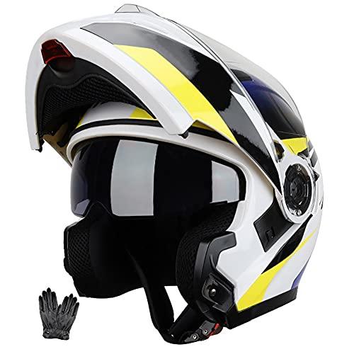 ZYTOSETR Casco Moto Modular con Bluetooth Slot Cascos Integral Flip Up Integradas Unas Gafas de Sol Escamoteables Doble Anti Niebla Visera Buen Sellado ECE Aprobado Ligera Difícil para Adulto 59-64CM
