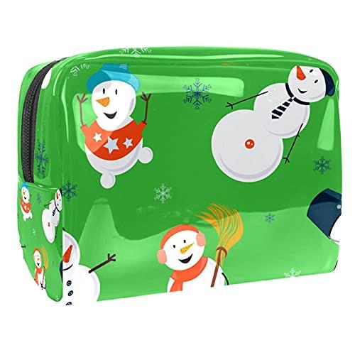 Bolsa de cosméticos para Mujeres Patrón de muñeco de Nieve de Navidad Bolsas de Maquillaje espaciosas Neceser de Viaje Organizador de Accesorios