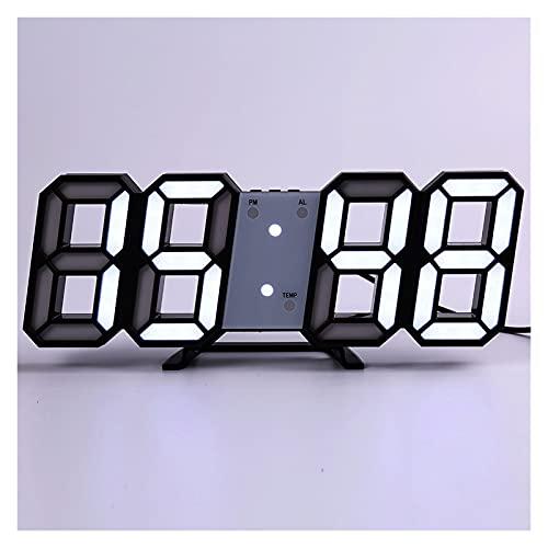 SPFCJL LED Digital Reloj de Pared Alarma Fecha Temperatura Automático Retroiluminación Mesa Mesa Desktop Decoración del hogar Soporte Soporte Relojes de suspensión (Color : Wall Clock 6)