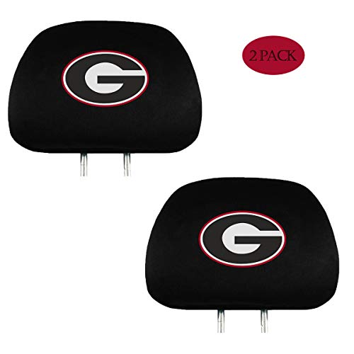 WONDS 2 Pack for Georgia Bulldogs Car Headrest Covers, Black Fabric Bulldogs UGA Universal Car Interior Accessories fit for Toyota Jeep Ford Cadillac with Printed University Team Logo