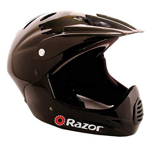 Razor 97775 Kid's Youth Full Face Padded Head Helmet for BMX Bike, Mountain Bicycle, Electric Scooter, Motorcycle, and More, Glossy Black
