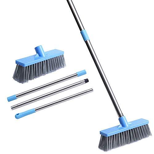 JEBBLAS デッキブラシ 浴室掃除用ブラシ タイルブラシ 3段長さ調節可能 掃除用ブラシ 屋外 プールといっ掃除用品