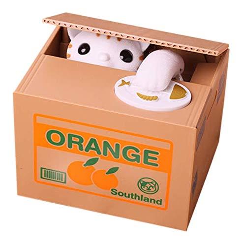 Gwill Caja automática para robar de monedas, caja de dinero para niños, regalo de cumpleaños, regalo para niños y niñas (gato)