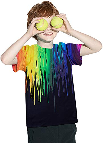 T-Shirts for Kids Rainbow Crew Neck Short Sleeve Gradient Short Shirts 3D Printed Spray Paint Tees Clothing Summer Outfit Tops Play Sets for 10-12 Years