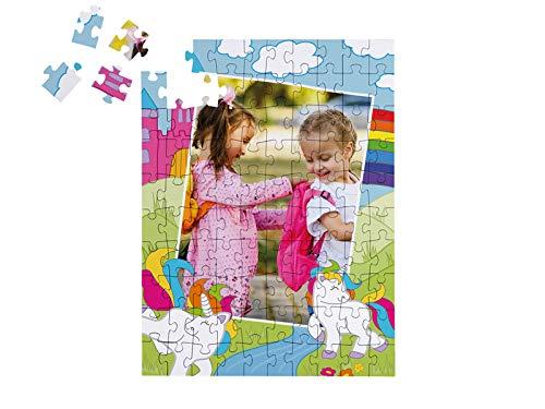Fotopuzzle Einhorn-Puzzle 100 Teile Regenbogenland mit eigenen Fotos: Personalisiertes Puzzle für Kinder, inkl. Einhorn-Schachtel (Hochformat)