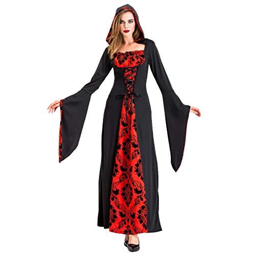 Hoodie Halloween Cosplay Teufel Kostüme Hexe Vintage Mittelalter Tod Kleid Frauen Kleider Lang,Kapuzen Maxikleid Ballkleid Karnevalskostüme URIBAKY