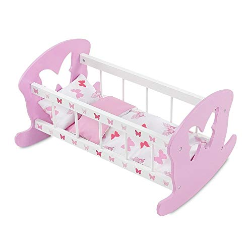Emily Rose 18 Inch Doll Bed | Rocking Baby Doll Cradle Doll Bed, Includes Reversible Butterfly Print Doll Bedding | Fits 15' - 18' Dolls, Such as Baby Alive and Bitty Baby Dolls