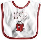 Baberos para recién nacidos con texto en inglés 'I Love Popcorn', color rojo