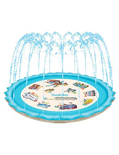 Splash Pad Sprinkler for Kids 68 Inches Wading Pool Inflatable Water Toys Outdoor Water Play Sprinklers Mat Pad