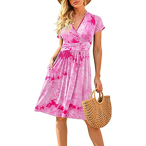 Falda Verano para Mujer Vestido de Manga Corta Cuello V Floral Tnica Informal Verano con Bolsillos S-3XL