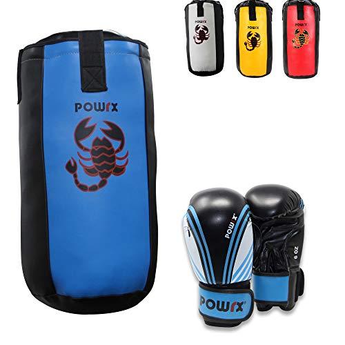 POWRX Boxset für Kinder Jugendliche I Boxsack + Boxhandschuhe I 2, 2,5 und 3 Fuß (2 Fuß (Blau/Schwarz))