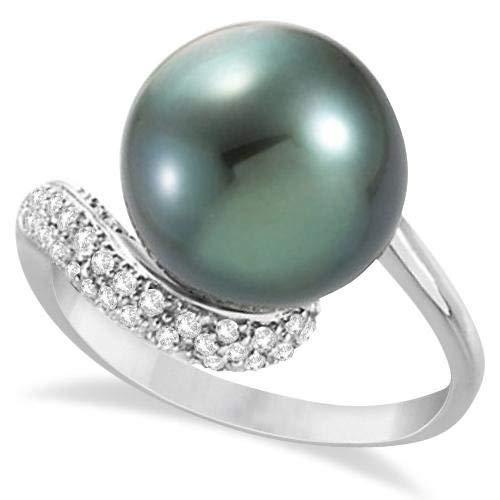 Anillo de perlas cultivadas de tahití y acento de diamantes 14K blanco (12 mm), anillo de compromiso de oro para siempre, anillo de bodas, anillo de oro de la promesa